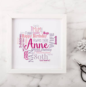 Personalised 80th Birthday Gift For Her