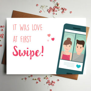 Love At First Swipe Card With Illustrated Couple - new lines added