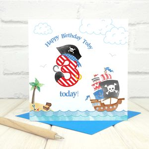 Personalised 3rd Birthday Pirate Card