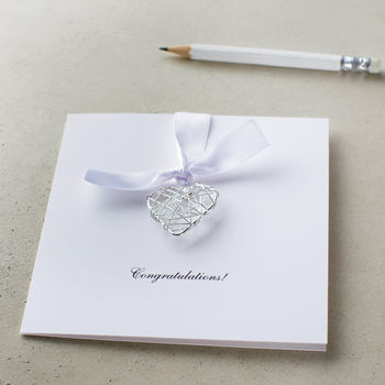 Personalised Congratulations Wire Heart Card