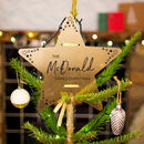 Personalised 'Family Christmas' Gold Star Tree Topper