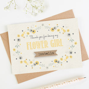 Thank You Flower Girl Card Yellow Floral - wedding thank you gifts