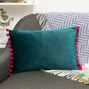 velvet throw cushion teal and cerise