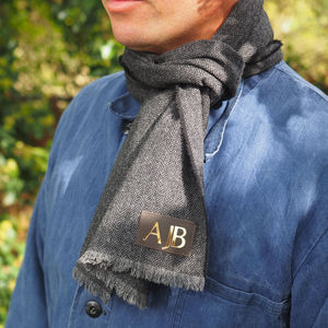 Gold Monogram Lambswool Scarf - scarves