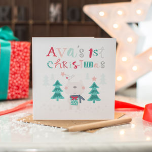 Baby's First Christmas Personalised Bear Card