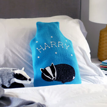 Badger Personalised Glow In The Dark Hot Water Bottle