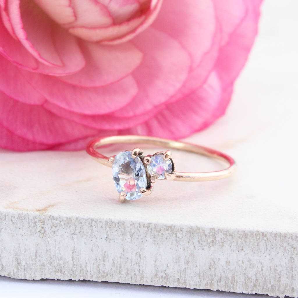 cosmos 9ct rose gold sapphire and moonstone ring by amelia may ...