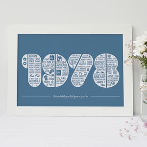 Personalised Year Memory Print - 60th birthday gifts