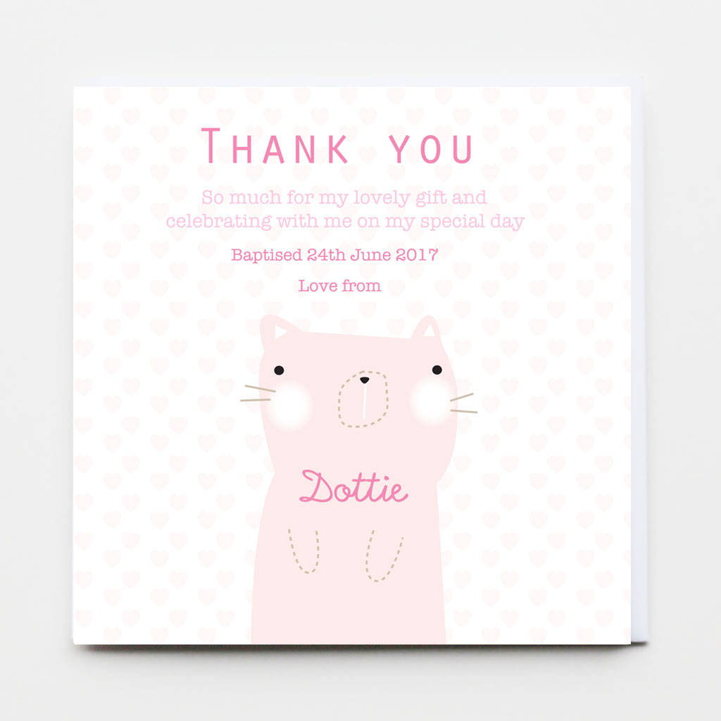 Baptism Christening Dedication Thank You Flat Cards By Buttongirl
