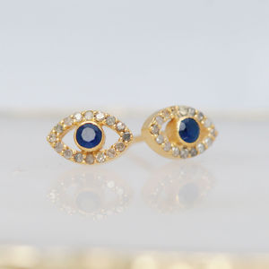Diamond And Sapphire Evil Eye Stud Earrings