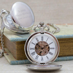 Engraved Pocket Watch Mechanical Skeleton - 50th birthday gifts