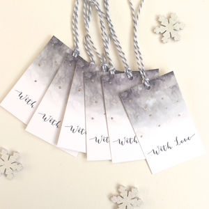 Pack Of Six Luxury Watercolour Gift Tags - cards & wrap