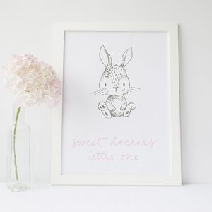 Sweet Dreams Little One Bunny Rabbit Print