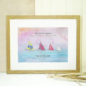 Personalised Boat Family Print
