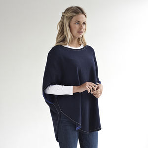 Cashmere Mix Poncho With Lurex Trim