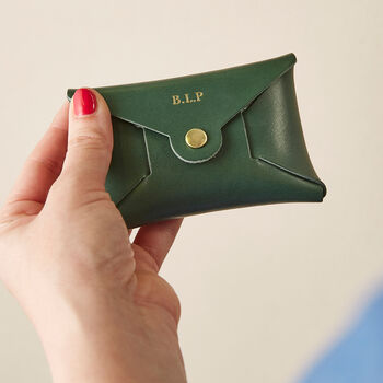 Personalised Green Leather Coin Purse Limited Edition