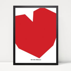 Personalised Contemporary Love Heart Print