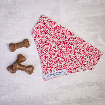 Dog Bandana For Girl Or Boy Dogs In Red Floral