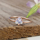 Apollo 9ct Rose Gold Trillion Offset Moonstone Ring