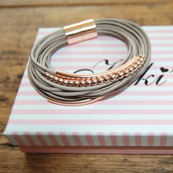 Leather Multi Cord Bracelet, Rose Gold/Gold/Silver
