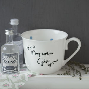 Personalised Gin China Cup With Spotty Inside - crockery & chinaware