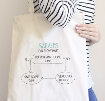 Personalised Gin Flowchart Tote Bag