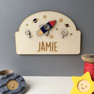 Personalised Space Door Plaque - children's room