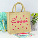 Personalised Spotty Jute Shopping Bag