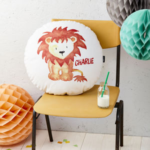 Personalised Lion Round Cushion - for little adventurers