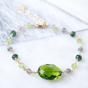 Green Gemstone Gold Handmade Bracelet