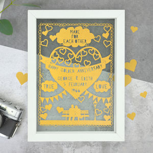 Personalised Golden Anniversary Papercut - mixed media & collage