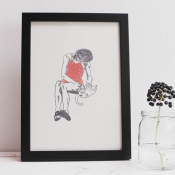 'Polka' Girl In A Red Dress With Cat Illustration Print