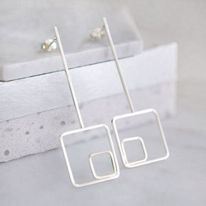 Sterling Silver Contemporary Geo Drop Earrings