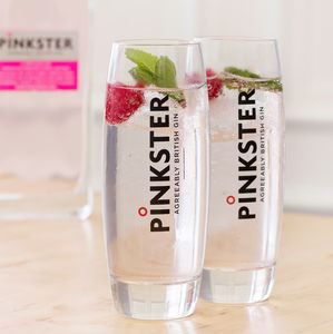 'Mine's A Double' Branded G And T Highball Glasses