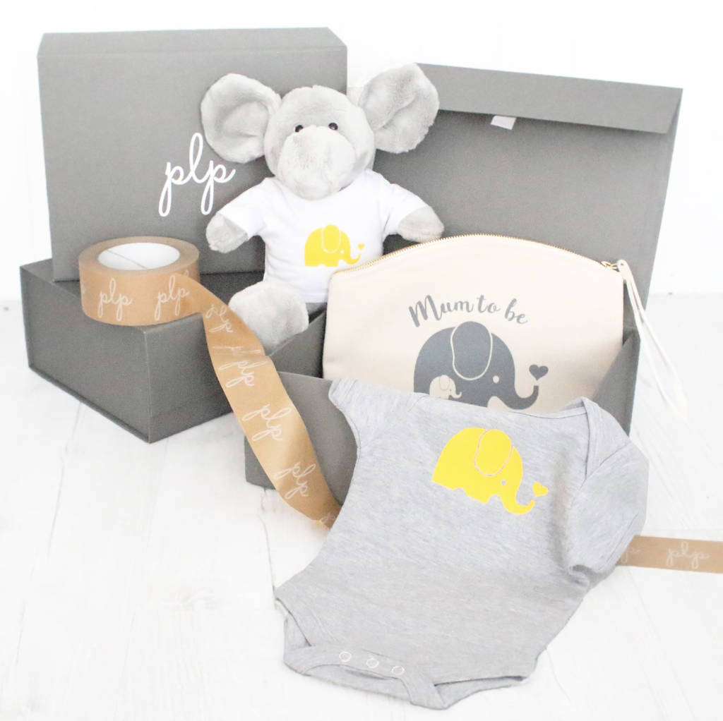 New mum and baby elephant gift set by precious little plum elephant gift set gift boxes available negle Images
