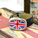 Personalised Watch With Union Jack In Black