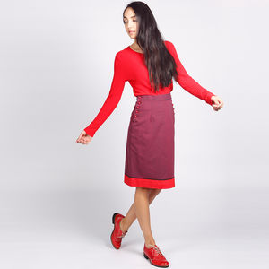 Bloomsbury Pencil Skirt Purple Red - women's fashion