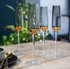 Set Of Four Smoked, Gold Dipped Champagne Flutes