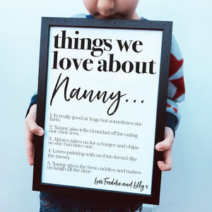 Personalised Things We Love About Nanny Grandma Print - family & home