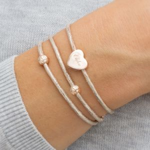Personalised Alissia Heart Charm Leather Bracelet - bracelets & bangles