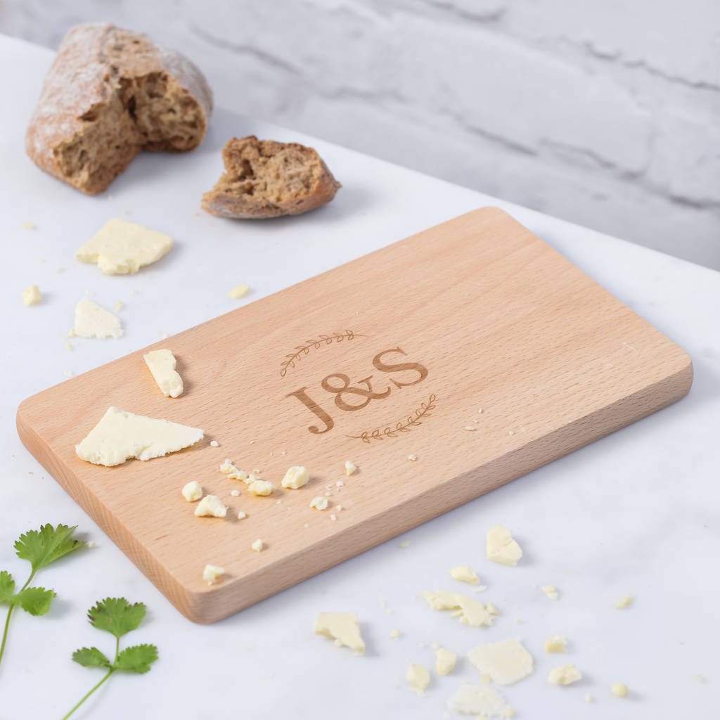 Personalised Wooden Couples Initial Cheese Board