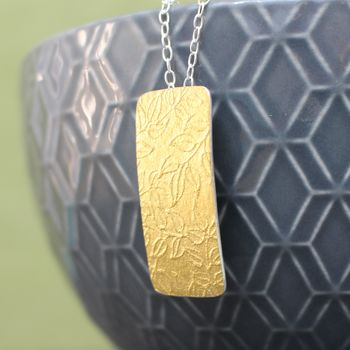 Golden Watercolour Vines Tag Pendant