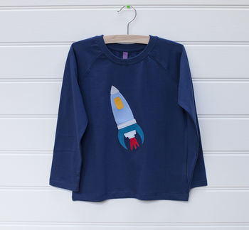 Rocket T Shirt On Blue