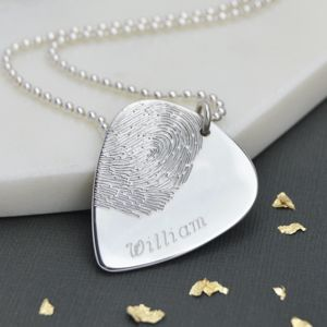 Personalised Silver Fingerprint Plectrum Necklace
