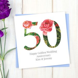 Personalised Golden 50th Wedding Anniversary Card - anniversary cards