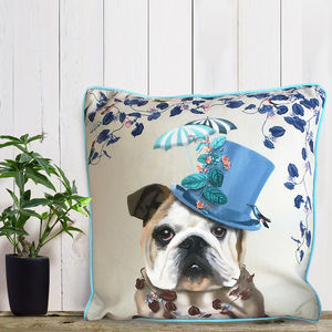 English Bulldog Cushion, The Milliners Dogs - living room