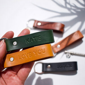 Personalised Italian Leather Keyring