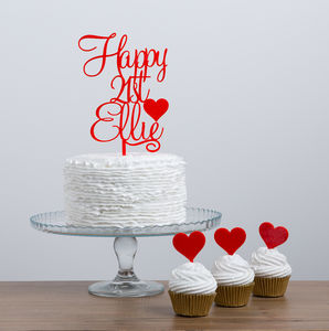 Personalised Birthday Cake Topper With Heart Detailing