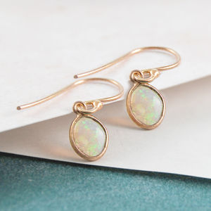 Opal October Birthstone Gold/Rose Gold Drop Earrings