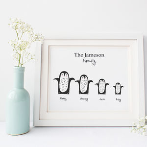 Personalised Family Print With Penguins